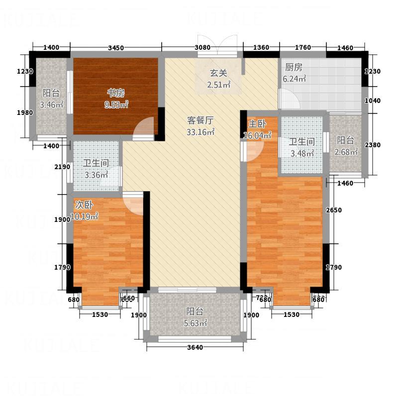 华府・东湖和缘134.50㎡A-3户型3室2厅2卫