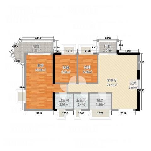细村豪庭3室1厅2卫1厨99.00㎡户型图