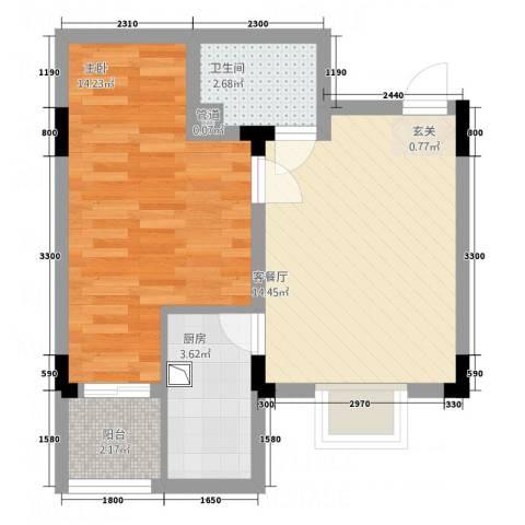 纯净生活1室1厅1卫1厨55.00㎡户型图