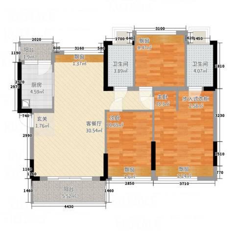 榄园3室1厅2卫1厨126.00㎡户型图