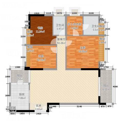 中天维港3室1厅2卫1厨144.00㎡户型图