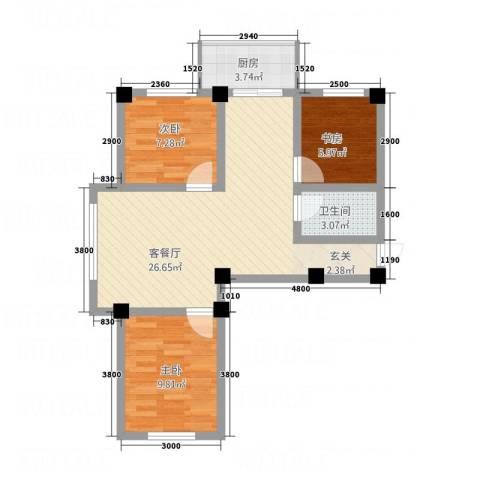 和美雅苑3室1厅1卫1厨374.00㎡户型图
