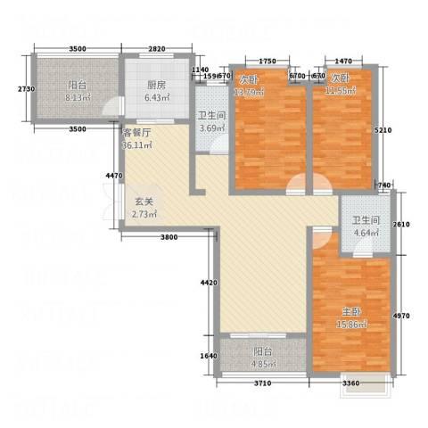 华富世家三期3室1厅2卫1厨152.00㎡户型图
