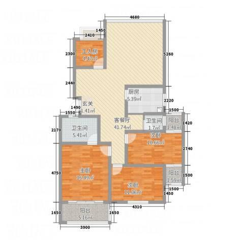 丹桂雅苑3室1厅2卫1厨152.00㎡户型图
