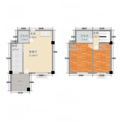 金瑞尚品2室1厅2卫1厨112.00㎡户型图