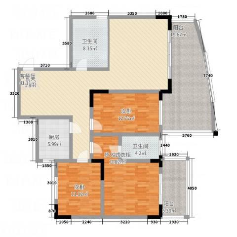 宏明大厦3室1厅2卫1厨152.00㎡户型图