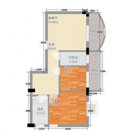 纯净生活2室1厅1卫1厨72.00㎡户型图