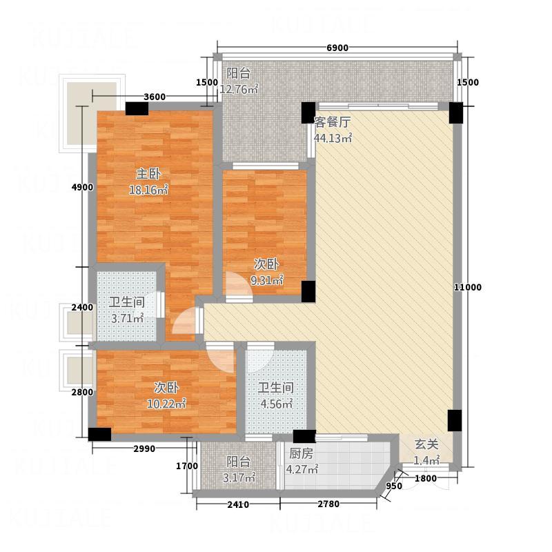 富德居户型3室2厅2卫