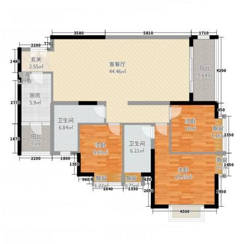 中天维港3室1厅2卫1厨153.00㎡户型图