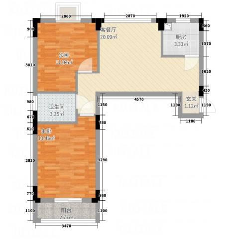 纯净生活2室1厅1卫1厨78.00㎡户型图