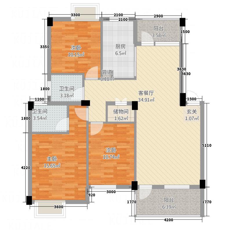 美岛214.20㎡小区QQ截图20140904085125_副本户型3室2厅2卫1厨