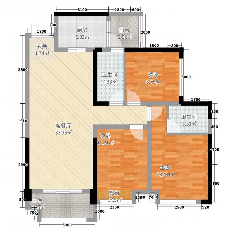 科华・南城印象11.62㎡A1、A2户型3室2厅2卫1厨