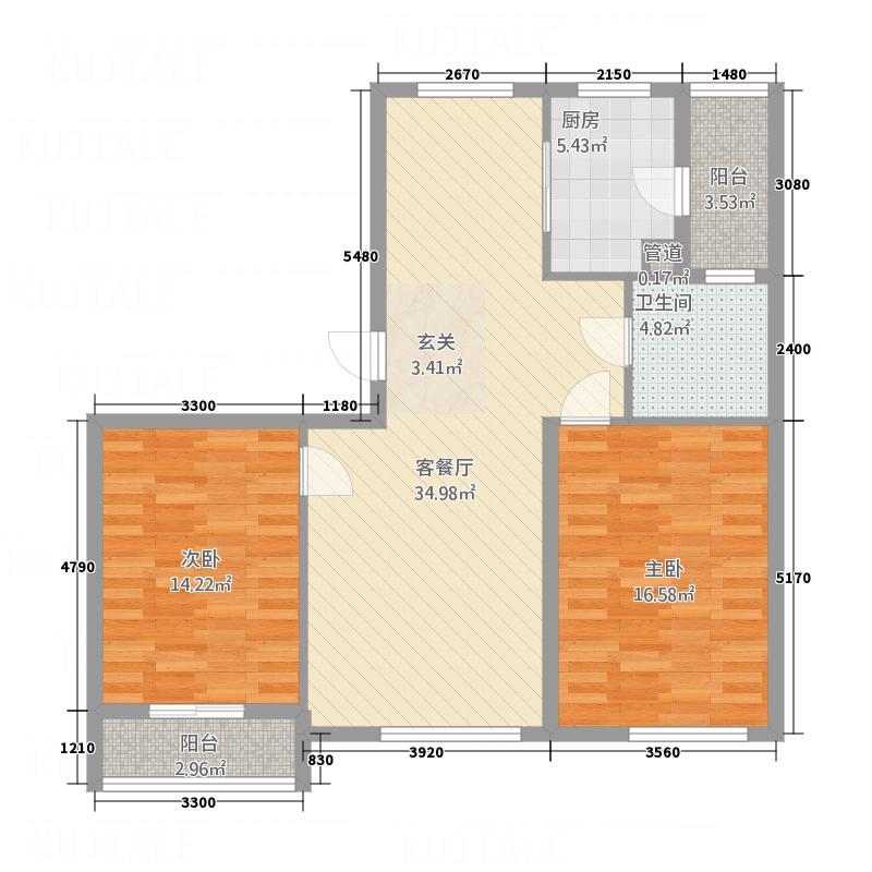 君悦国际城117.00㎡二期小高层D1户型2室2厅1卫1厨
