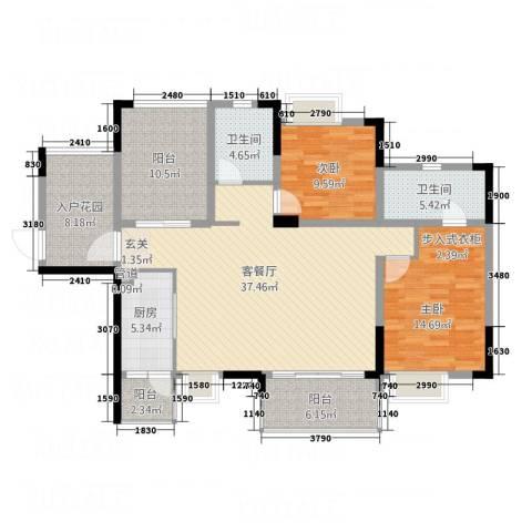 锦绣山河2室1厅2卫1厨125.00㎡户型图