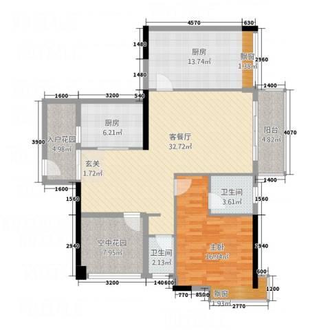 三千俊林1室1厅2卫2厨131.00㎡户型图