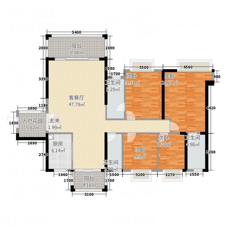 金海湾豪庭164.34㎡7座01单元户型4室2厅3卫1厨