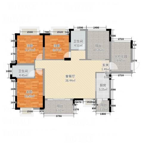 锦绣山河3室1厅2卫1厨139.00㎡户型图