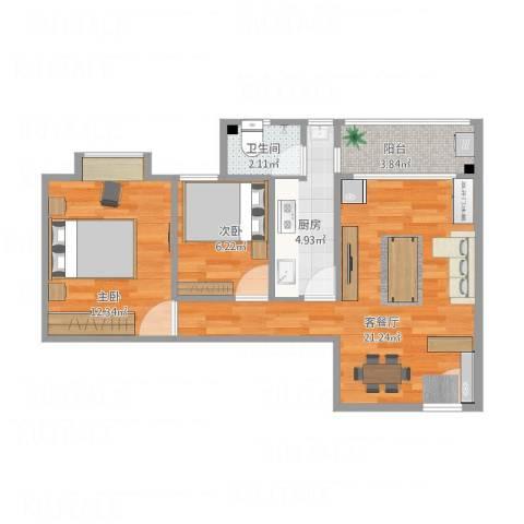 富达花园2室1厅1卫1厨71.00㎡户型图