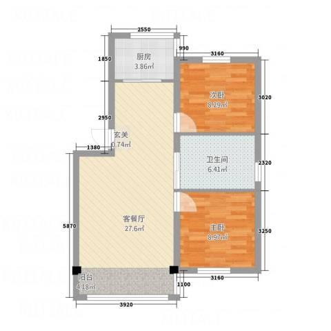 学府世家2室1厅1卫1厨72.00㎡户型图