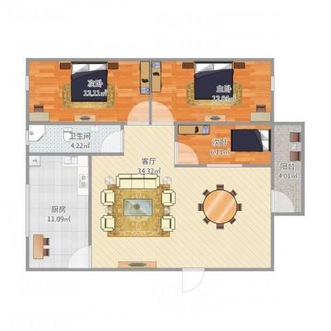 富达花园3室1厅1卫1厨112.00㎡户型图