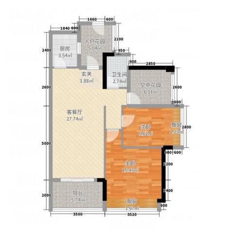 三千俊林2室1厅1卫1厨109.00㎡户型图