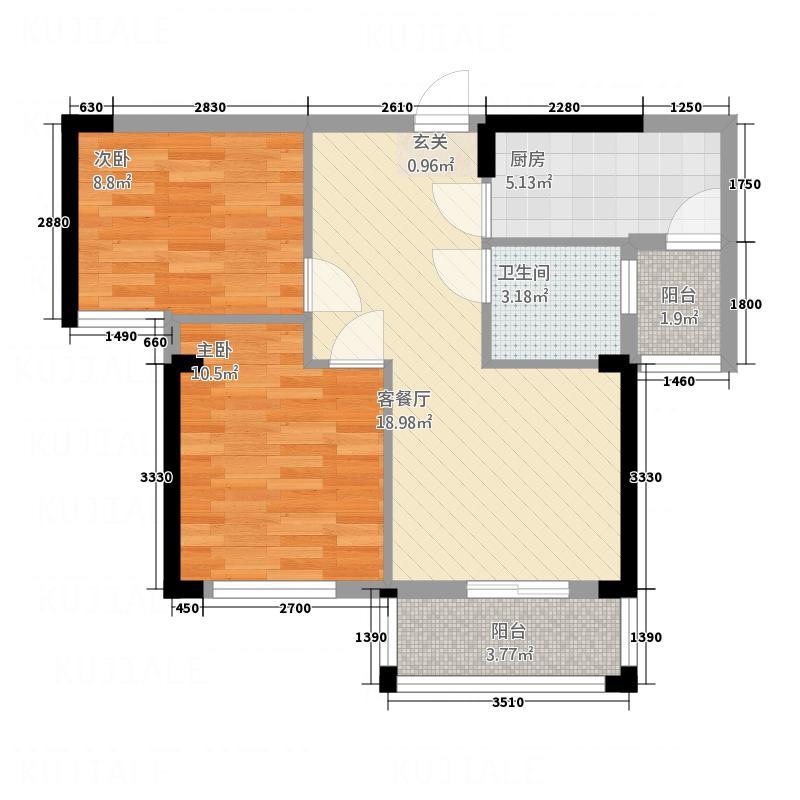 香港城2期78.50㎡A3户型2室2厅1卫1厨