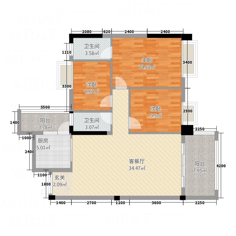 顺景家园113.00㎡B2户型3室2厅2卫1厨