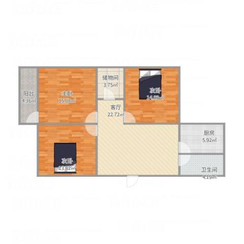 化纤小区3室1厅1卫1厨113.00㎡户型图