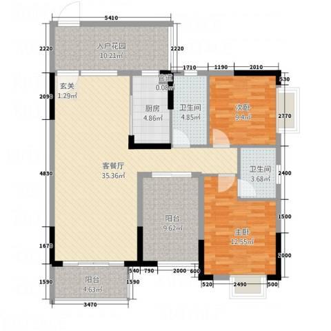 锦绣山河2室1厅2卫1厨112.00㎡户型图