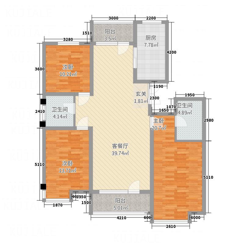 泽洲华府151.00㎡B户型3室2厅2卫1厨