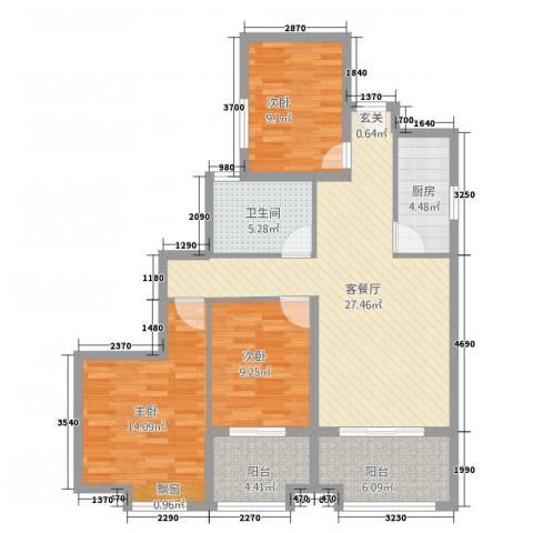 公园新天地3室1厅1卫1厨92.00㎡户型图