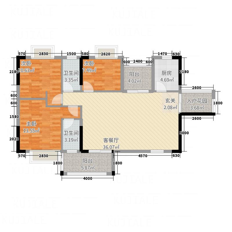 顺景家园113.00㎡A1+2花园户型3室2厅2卫1厨