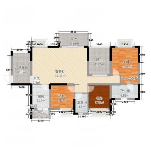 锦绣山河3室1厅2卫1厨109.36㎡户型图