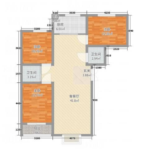 怡景茗苑3室1厅2卫1厨131.00㎡户型图