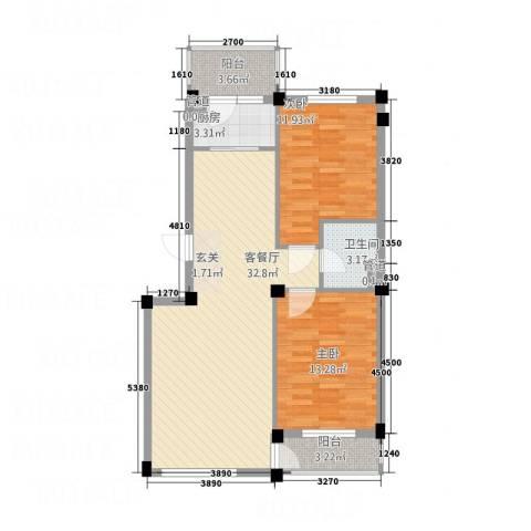 长鹭晶品缘林2室1厅1卫1厨88.00㎡户型图