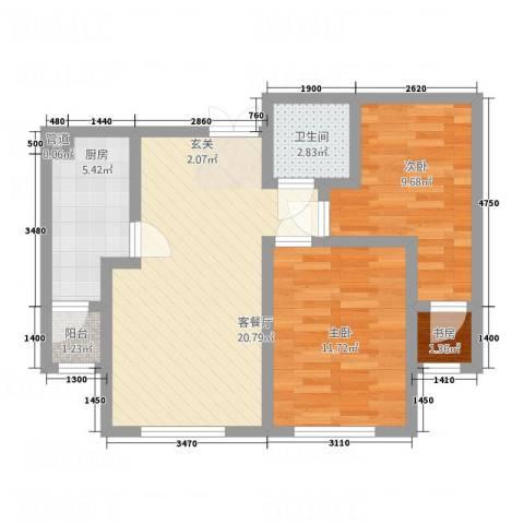 怡景茗苑3室1厅1卫1厨79.00㎡户型图