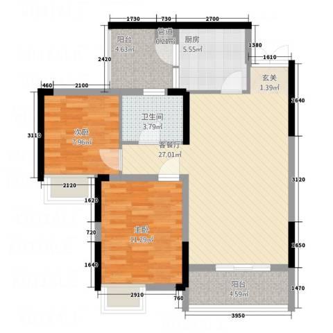 渝洲新城2室1厅1卫1厨71.00㎡户型图