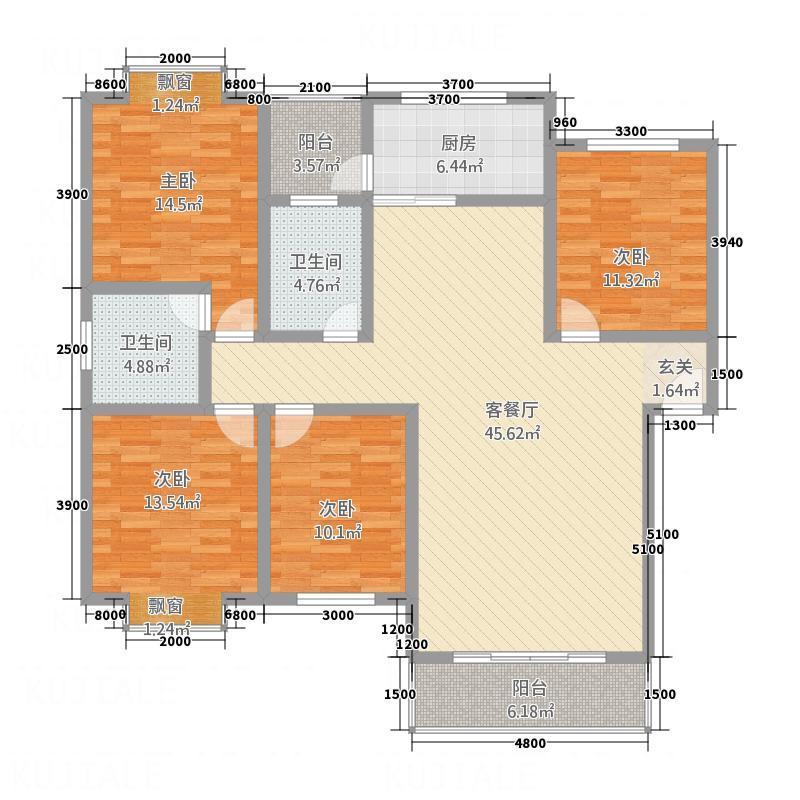 未城滨江佳苑13.50㎡户型4室2厅2卫1厨