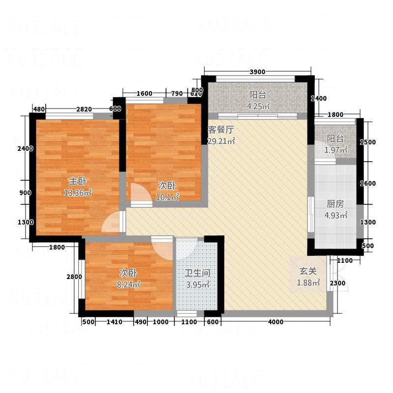科华・南城印象387.62㎡A3户型3室2厅1卫1厨