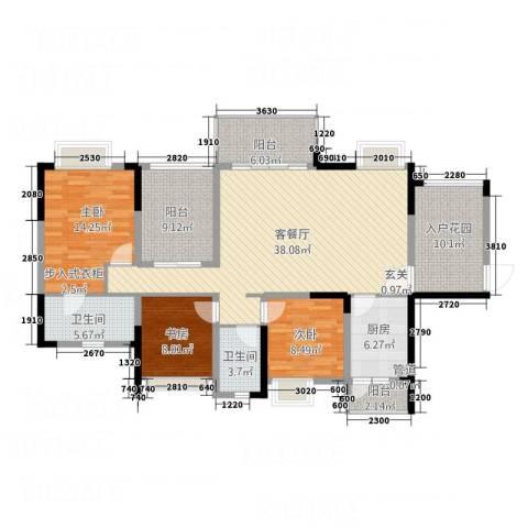 锦绣山河3室1厅2卫1厨131.00㎡户型图