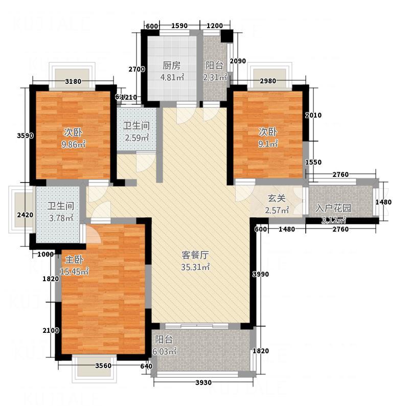 澜湾国际63.20㎡6#户型3室2厅2卫1厨