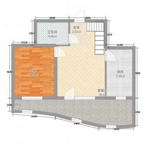 金城丽景湾三期1室1厅1卫1厨61.00㎡户型图