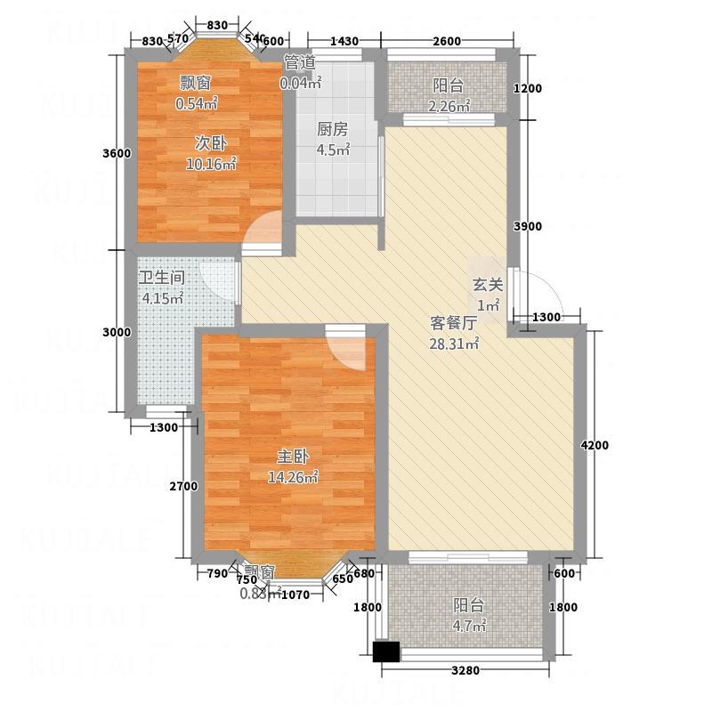 假日广场83.00㎡A户型2室2厅1卫1厨