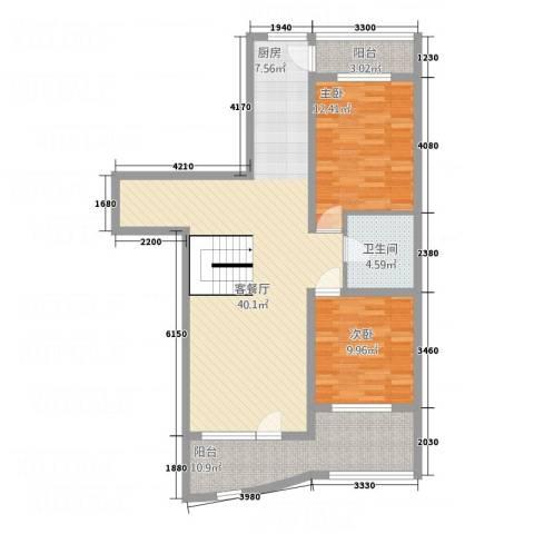 金城丽景湾三期2室1厅1卫0厨88.00㎡户型图