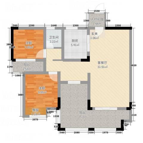 仰森江畔2室1厅1卫1厨76.01㎡户型图