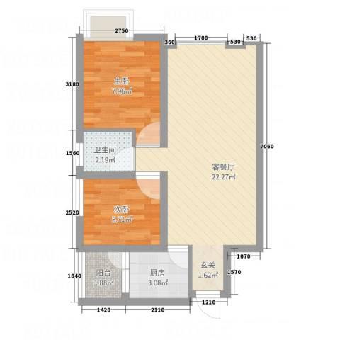 皇庭国际1号2室1厅1卫1厨63.00㎡户型图