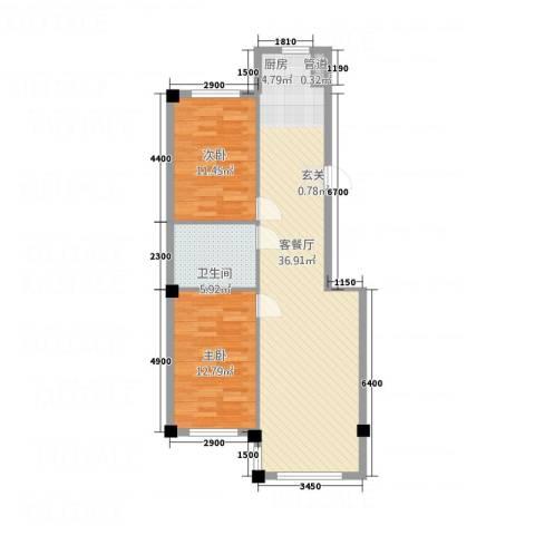 学府世家2室1厅1卫0厨67.38㎡户型图