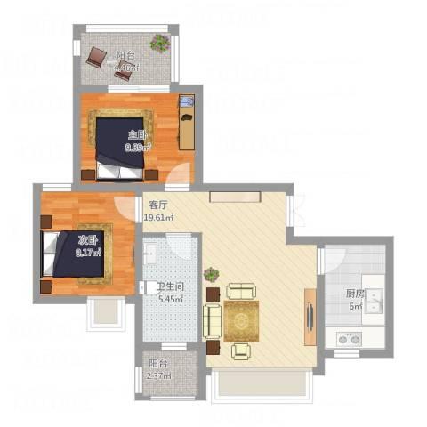 南环新村两房一厅2室1厅1卫1厨83.00㎡户型图