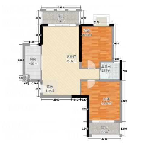 三航公寓2室1厅1卫1厨90.00㎡户型图