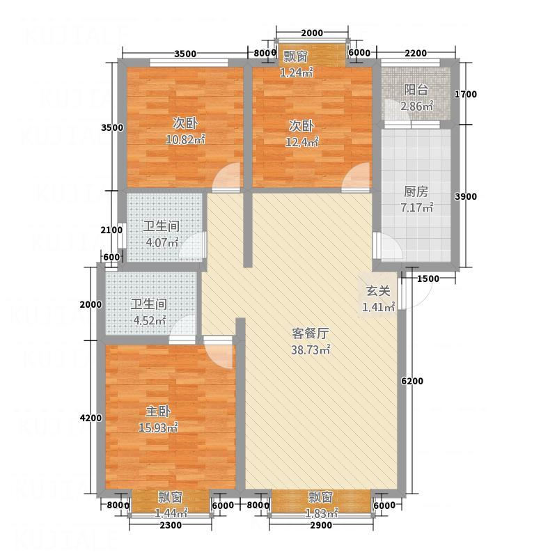 未城滨江佳苑114.60㎡户型3室2厅2卫